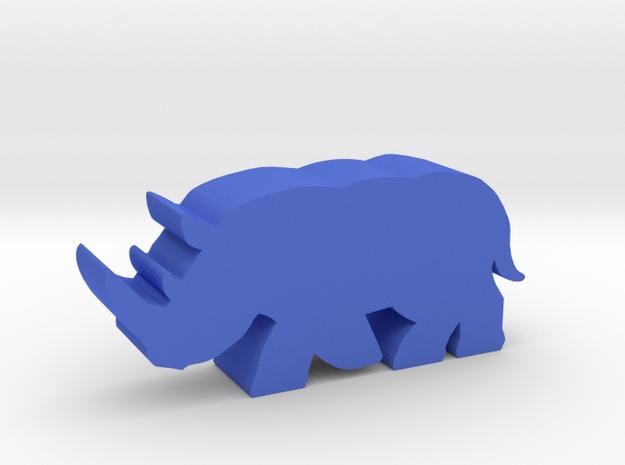 Game Piece, Rhinoceros running in Blue Processed Versatile Plastic
