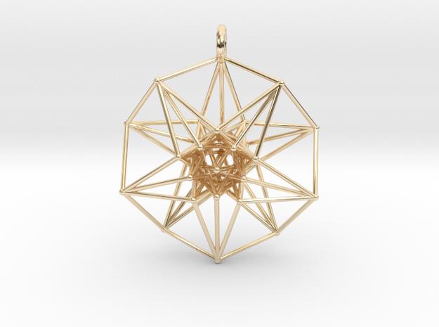 5d hypercube pendant - 3 sizes in 14k Gold Plated Brass: Medium