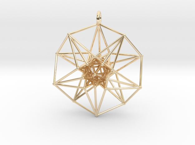 5D Toroidal HyperCube 50mm  in 14k Gold Plated Brass: Large