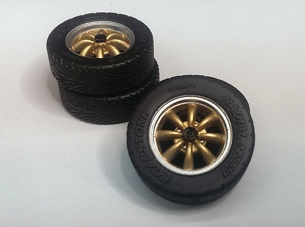 "1/24 15"" EMPI 8-spoke wheels with tires in Smooth Fine Detail Plastic"
