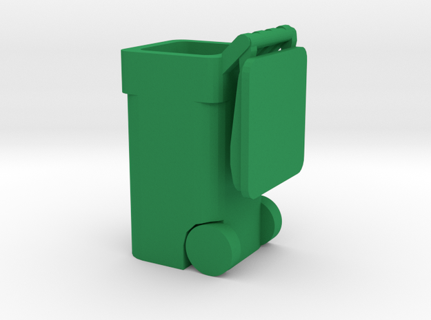 Trash Cart 64 gal Lid Open- HO 87:1 Scale in Green Processed Versatile Plastic