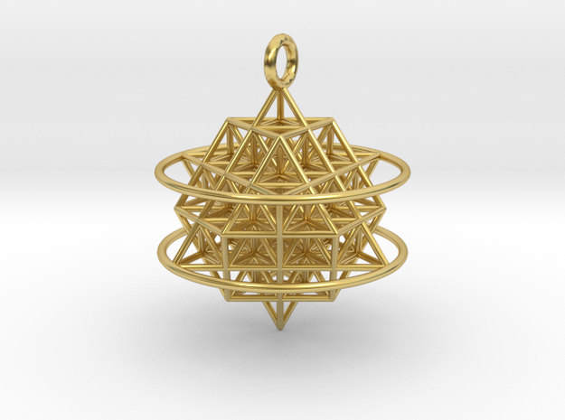 64 Tetrahedron Grid with Boundary Circles in Polished Brass