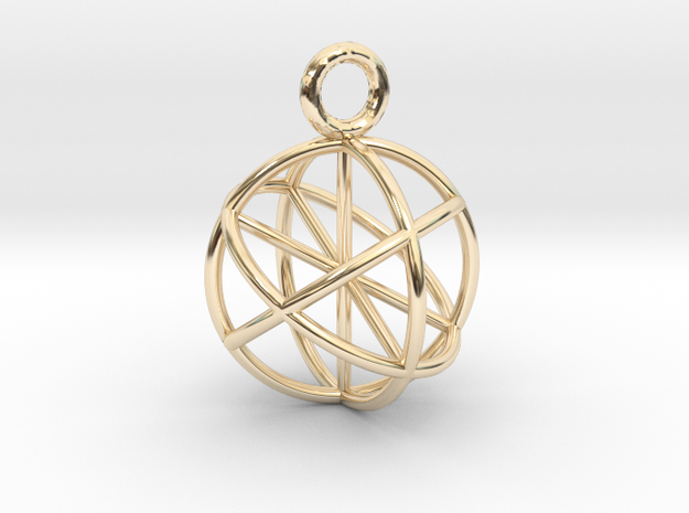 Seed of Life Pendant 20mm  in 14k Gold Plated Brass