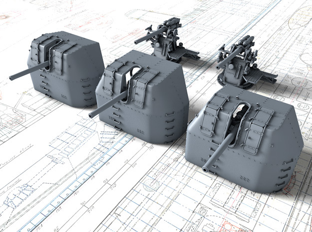 """1/600 RN 4"""" MKV P Class Guns Closed Ports x5 in Smoothest Fine Detail Plastic"""