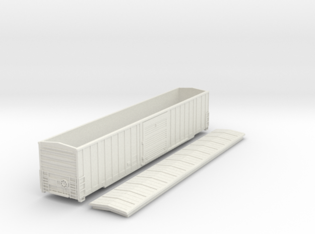 60´Gunderson Boxcar in NScale in White Natural Versatile Plastic