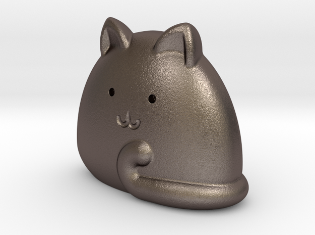 Pocket cat in Polished Bronzed-Silver Steel