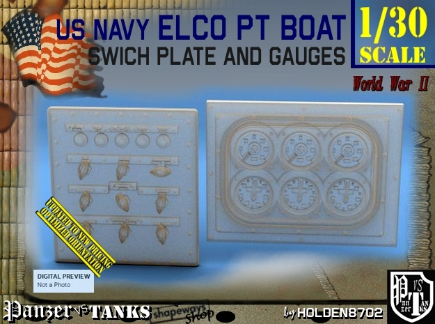 1/30 PT Boat Swich Plate and Gauges in Smoothest Fine Detail Plastic