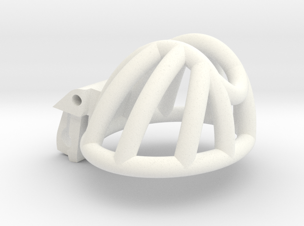 The Cherry Keeper Cage - Short Wide in White Processed Versatile Plastic