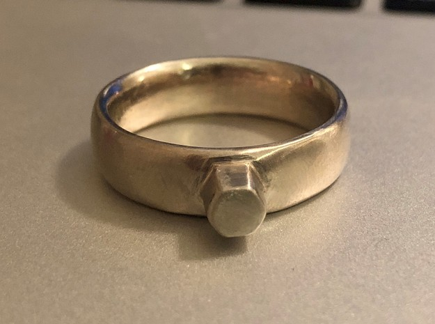 Hex driver ring in Polished Bronzed-Silver Steel: 8 / 56.75
