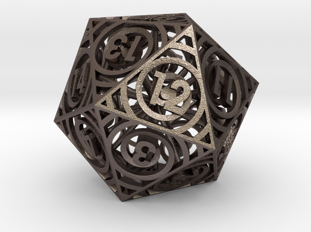 Spiral Dice - D20 Spindown life counter in Polished Bronzed-Silver Steel