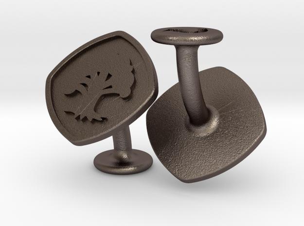 Cufflinks Green Mana Symbol (Forest) in Polished Bronzed-Silver Steel