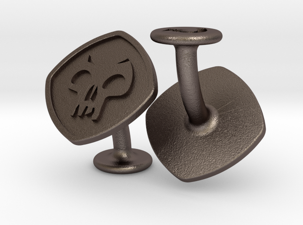 Cufflinks Black Mana Symbol (Swamp) in Polished Bronzed-Silver Steel