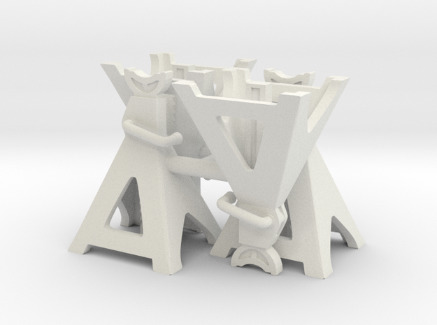 1:18 Scale Jack Stands x4 (Low) in White Natural Versatile Plastic
