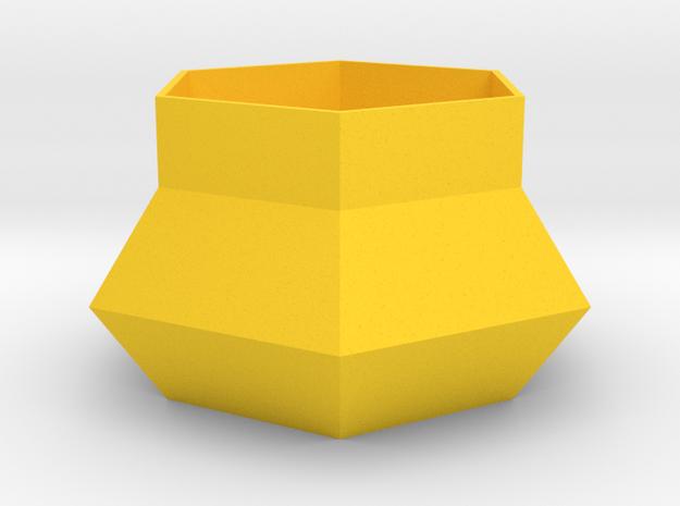 Hexagonal Planter in Yellow Processed Versatile Plastic