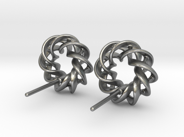 Torus Ribbon Stud Earrings in Cast Metals in Natural Silver