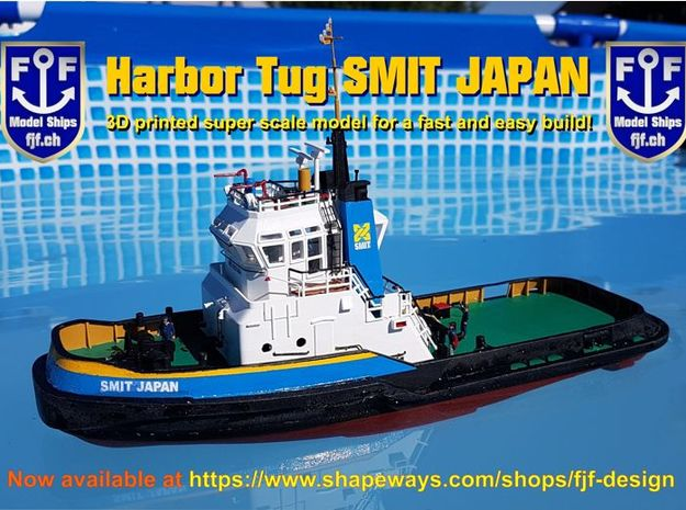 Harbor Tug Hull 1:75 V40 Feature Complete in White Natural Versatile Plastic