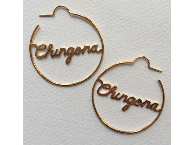 Chingona Hoop Earrings in 14k Gold Plated Brass