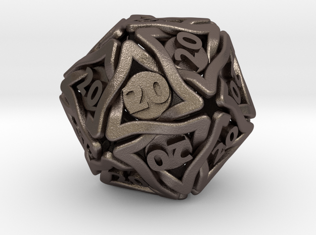 Twined D20 (All 20's version) in Polished Bronzed-Silver Steel