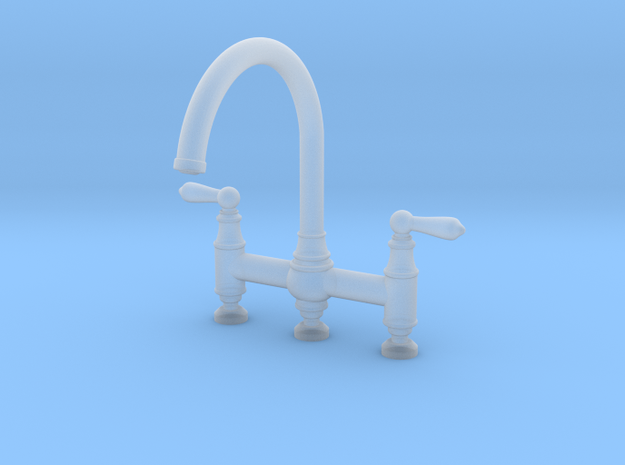 Triple Deco Bridge Faucet  in Smooth Fine Detail Plastic