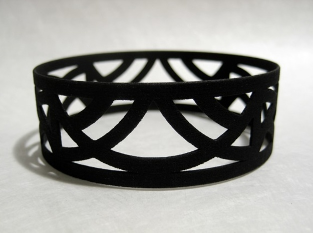 Art Deco Bangle Bracelet  in Black Strong & Flexible: Small