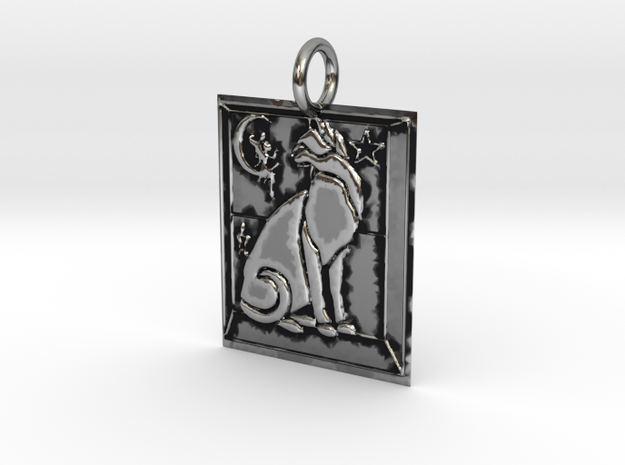 Cat View Pendant in Antique Silver
