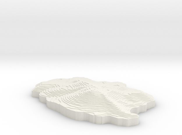 Topographical Mammoth Mountain in White Natural Versatile Plastic: Small