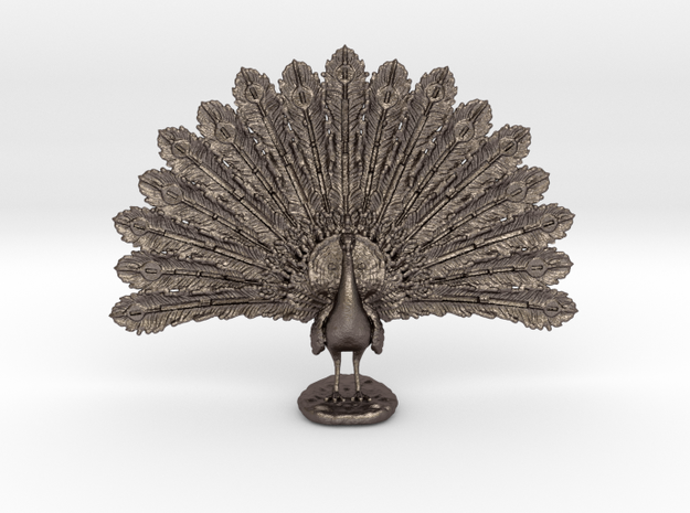 Desktop Peacock in Polished Bronzed Silver Steel