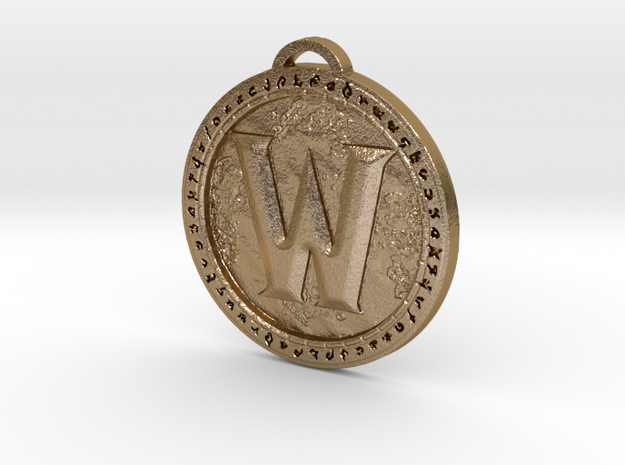 World of Warcraft Medallion in Polished Gold Steel