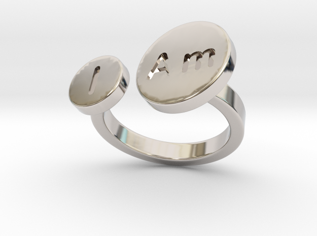 I Am Ring - Bold in Rhodium Plated Brass: 6 / 51.5