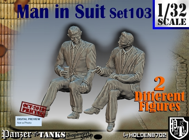 1/32 Man in Suit Set103 in White Natural Versatile Plastic