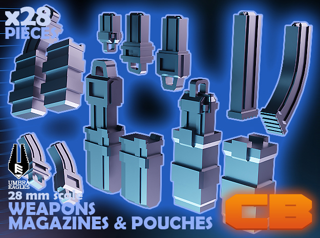 CB Umbra Eagles Magazines & Pouches S* 28mm in Smoothest Fine Detail Plastic