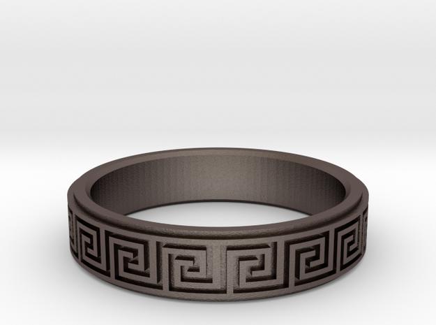 Greek Fieze Pattern Ring 20mm in Polished Bronzed-Silver Steel