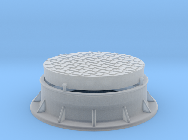 Offset Waffle Pattern Manhole 1:20.3 scale in Smooth Fine Detail Plastic