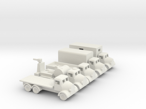 1/200 Scale Austin Truck Set Of 5 in White Natural Versatile Plastic