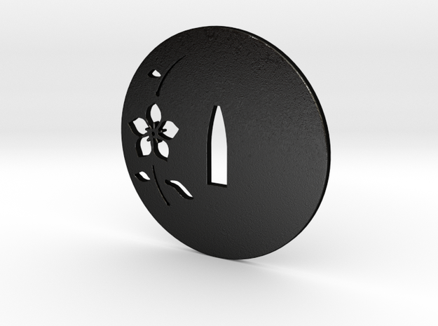 tsuba sakura  3mm variant  in Matte Black Steel