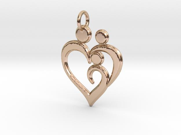 Family of 3 Heart Shaped Pendant in 14k Rose Gold