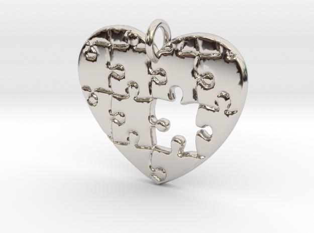 Puzzled Heart Pendant in Platinum