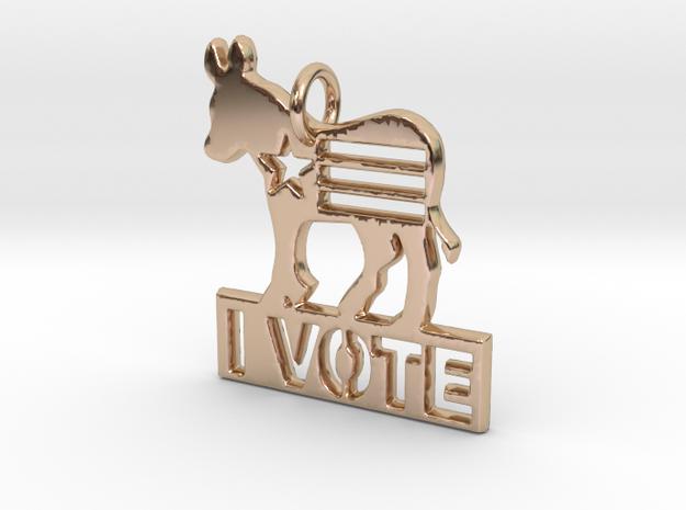 I Vote Donkey Pendant in 14k Rose Gold
