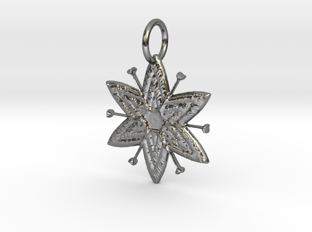 Egyptian Star Flower Pendant in Fine Detail Polished Silver: Large