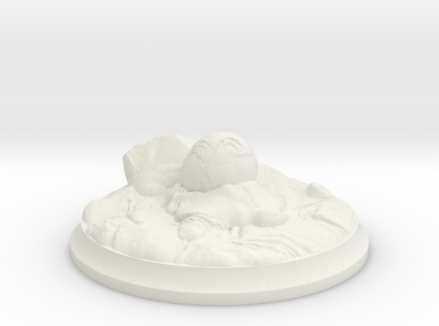 Fire Dragon Egg - 40 mm Base for Tabletop Games in White Premium Versatile Plastic
