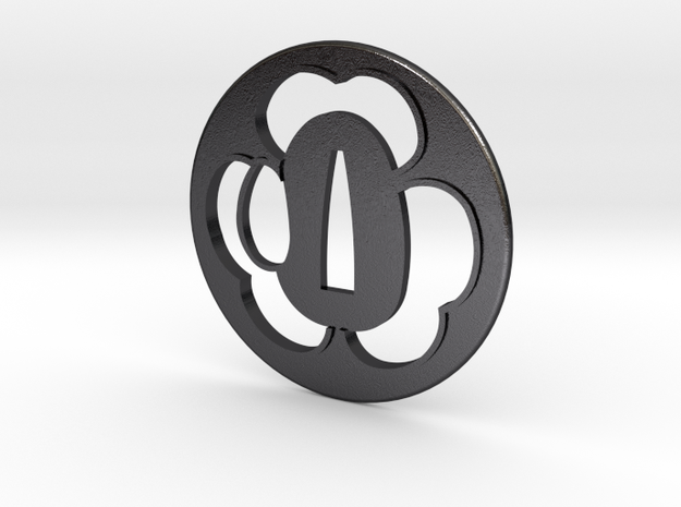 Tsuba katabami mon in Polished and Bronzed Black Steel