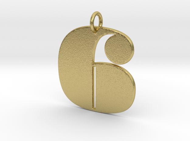 Numerical Digit six Pendant in Natural Brass