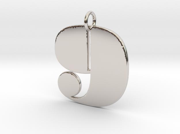 Numerical Digit Nine Pendant in Platinum