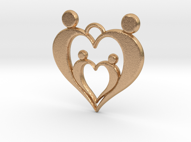 Family of Four Heart Shaped Pendant in Natural Bronze