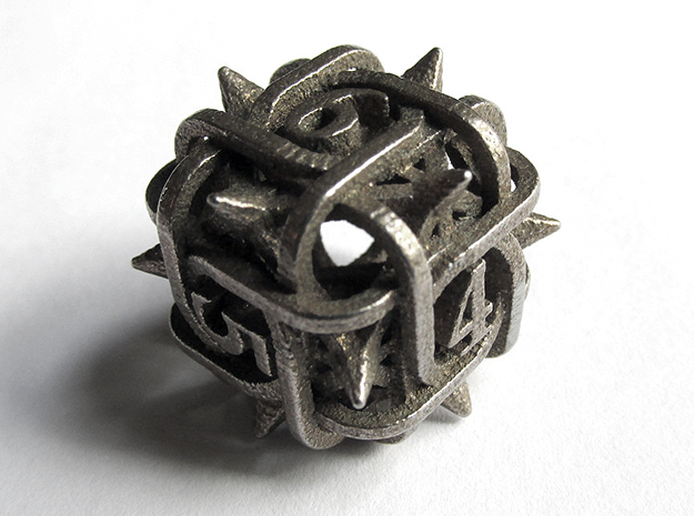 Thorn d6 in Polished Bronzed Silver Steel