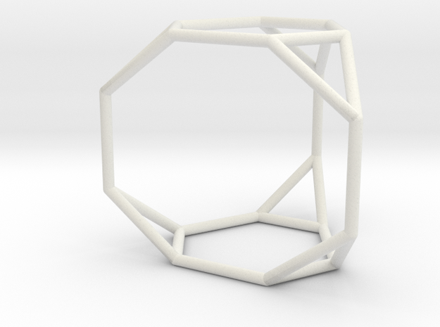Truncated triangular prism in White Natural Versatile Plastic