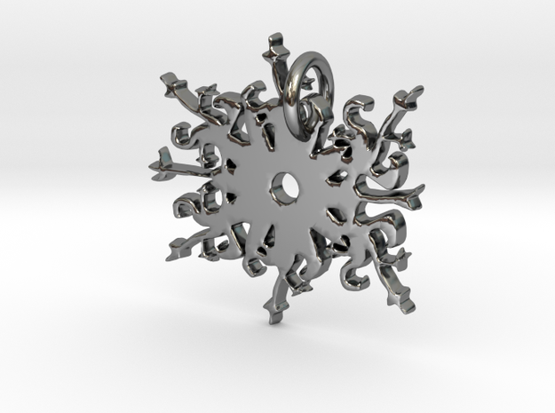 Snowflake Pendant in Fine Detail Polished Silver