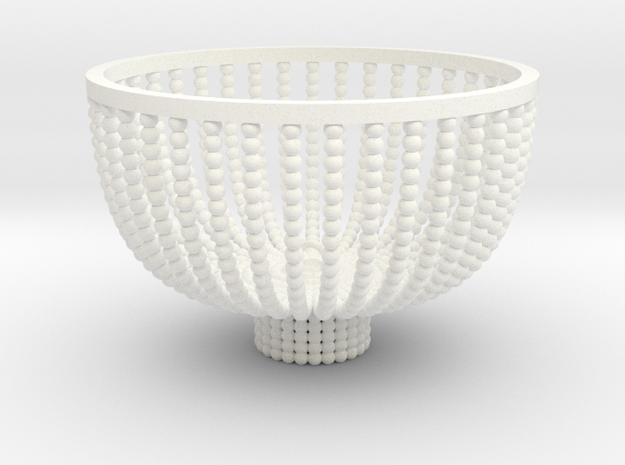 Med- Beaded Chandelier  in White Processed Versatile Plastic