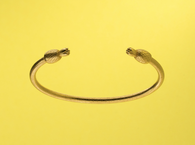 PINEAPPLE LOVE. in Polished Gold Steel: Small