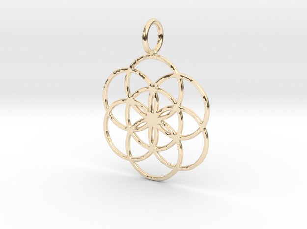 Seed of Life 27mm 33mm 45mm in 14k Gold Plated Brass: Small